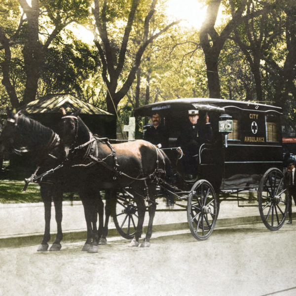 Horse-drawn ambulance at Bienville Square, ca, 1906.